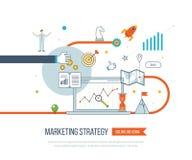 Marketing strategie en inhoud marketing Investeringsbeheer Dun Lijnontwerp royalty-vrije illustratie