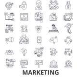 Marketing, marketing strategie, reclame, zaken, het brandmerken, sociale media lijnpictogrammen Editableslagen Vlak Ontwerp vector illustratie