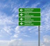 Marketing strategies. Road sign to marketing strategies royalty free stock photo
