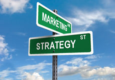 Marketing Strategy. Marketing and strategy sign posts on a blue sky royalty free stock images