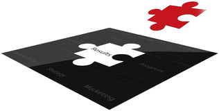 Marketing strategy. A jigsaw puzzle depicting objectives found when planning a marketing strategy Stock Images