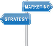 Marketing - Strategy. A Signpost for Marketing and Strategy Stock Photos