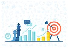 Marketing strategy banner in flat style. Business concept with icons of chess pieces, schedule, profit and purpose. Marketing strategy banner in flat style Royalty Free Stock Images
