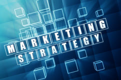 Marketing strategy in blue glass cubes Stock Images