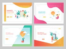 Marketing Strategy Business Solutions Landing Page Template. Time Management Concept with Characters Working on Idea stock illustration