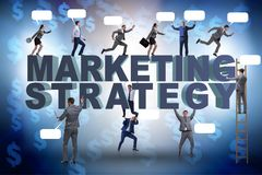 The marketing strategy concept with businessman and team. Marketing strategy concept with businessman and team Royalty Free Stock Photos