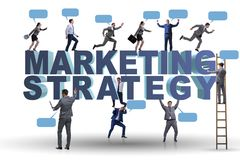 The marketing strategy concept with businessman and team. Marketing strategy concept with businessman and team Royalty Free Stock Photo