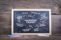 Marketing strategy concept. Chart with keywords and icons. Chalk board Background.  royalty free stock photos