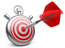 Marketing strategy concept. dart hitting the center of a target Stock Photo