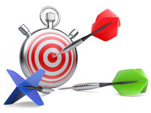 Marketing strategy concept. dart hitting the center of a target Royalty Free Stock Images