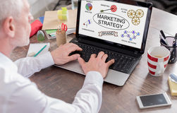 Marketing strategy concept on a laptop screen Stock Images