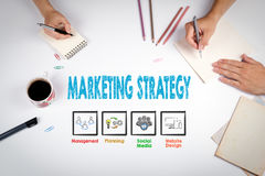 Marketing Strategy Concept. The meeting at the white office table.  royalty free stock photos