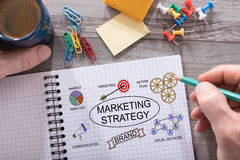Marketing strategy concept on a notepad Stock Photography