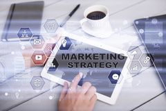 Marketing strategy concept on virtual screen. Internet, advertising concept. Stock Photography