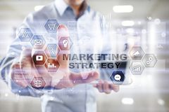 Marketing strategy concept on virtual screen. Internet, advertising and digital technology concept. Sales growth. Marketing strategy concept on virtual screen Stock Images