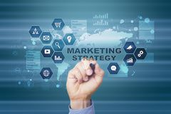Marketing strategy concept on virtual screen. Internet, advertising and digital technology concept. Sales growth. Marketing strategy concept on virtual screen Stock Photo