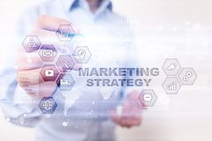 Marketing strategy concept on virtual screen. Internet, advertising and digital technology concept. Sales growth. Marketing strategy concept on virtual screen Stock Photos