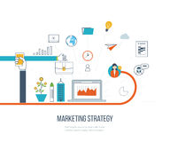Marketing strategy and content marketing.  Investment management. Color line icons Royalty Free Stock Photo