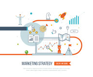 Marketing strategy and content marketing.  Investment management. Thin line design Royalty Free Stock Images