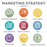 Marketing Strategy Icon Set Stock Photos