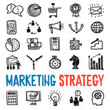Marketing Strategy Icons Set. Marketing strategy hand drawn icons set with business symbols  vector illustration Stock Images
