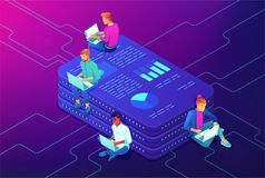 Marketing strategy isometric concept. Long-term planning, goal achieving, strategic management, market share analysis, digital analysts teamwork on ultraviolet Stock Image
