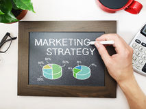 Marketing strategy sketched on a black chalkboard Stock Photos