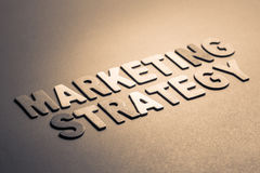 Marketing Strategy. Text topic in wood letters stock photo