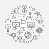 Marketing Strategy vector outline circular illustration. Marketing Strategy vector outline modern circular illustration stock illustration