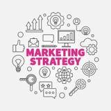 Marketing Strategy vector round illustration in line style. Marketing Strategy vector round minimal illustration in thin line style vector illustration
