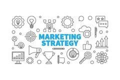 Marketing Strategy vector thin line horizontal illustration. Marketing Strategy vector minimal horizontal illustration or banner in thin line style vector illustration