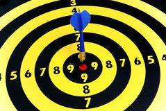 Marketing and success. Dart hitting the center of the dartboard exactly like someone would center his/her objective, or the needs of the clients Royalty Free Stock Image