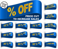 Marketing Tag Clothes Label Sticker Sewn Price Cut Set Blue. Clothes labels with price cut percentages and phrases for sales promotion; Only today discount; Buy Royalty Free Stock Photos