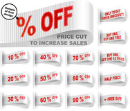 Marketing Tag Clothes Label Sticker Sewn Price Cut Set White. Clothes labels with percentage of price cuts and marketing phrases; Discount today only; Buy one Stock Photos
