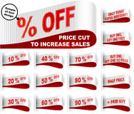 Marketing Tag Clothes Label Sticker Sewn Price Cut Set White Red. Clothes labels with percentage of price cuts and marketing phrases; Discount today only; Buy Stock Photos