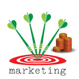 Marketing target. Abstract colorful background with stack of coins, red target and darts arrows. Marketing concept Royalty Free Stock Image