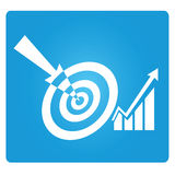 Marketing target. Dart, marketing target symbol in blue button Stock Images