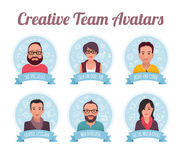 Marketing Team Avatars. Modern style avatars of creative team members. They are: SEO specialist, creative director, front-end coder, graphic designer, web Royalty Free Stock Photography
