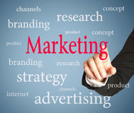 Marketing text on blue background Royalty Free Stock Images