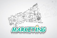 Marketing text, With creative drawing charts and graphs business success strategy plan idea, Inspiration concept modern design tem. Plate workflow layout Stock Photography