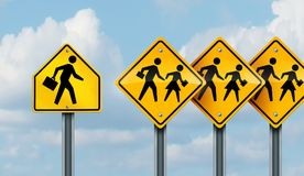 Marketing To School kids. Concept as a group of traffic signs with children being followed by a salesperson trying to sell or advertise to an academic child vector illustration
