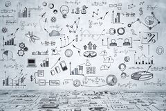 Marketing and trade concept. Business sketch in concrete interior. Marketing and trade concept stock illustration