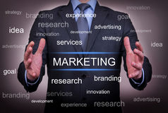 Marketing Between Two Hand. On working business concept Stock Images