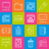 Marketing und Anzeige lineart minimales Vektor iconset auf karierter Mehrfarbenbeschaffenheit stock abbildung