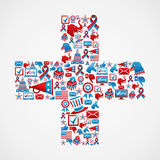 Marketing US elections icon in cross Stock Images