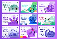 Marketing vector landing page illustration set with different color and concept royalty free illustration