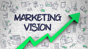 Marketing Vision Drawn on White Brickwall. vector illustration