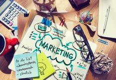 Marketing-Wirtschaftswerbungs-Förderungs-Waren-Konzept stockbilder