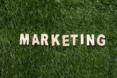 Marketing Wooden Sign On Grass Royalty Free Stock Images
