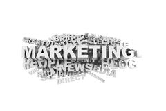 Marketing Word Cloud. High quality 3d image of marketing word cloud Royalty Free Stock Image